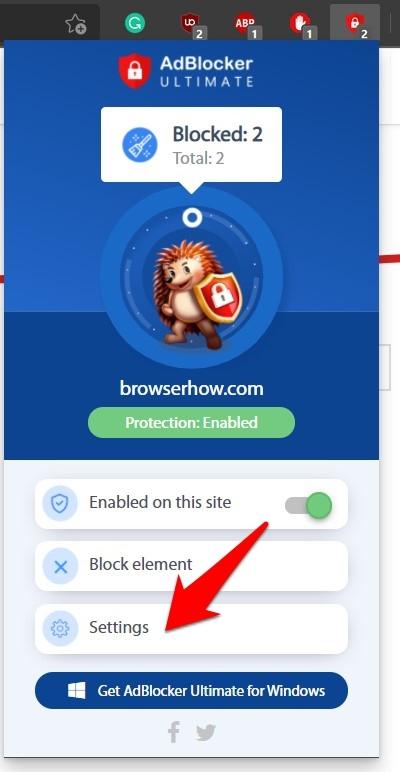 AdBlocker Ultimate Settings menu