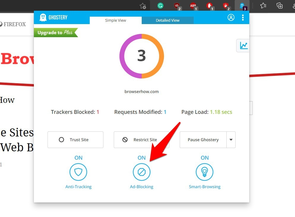 AdBlocking ON on the Ghostery Extension
