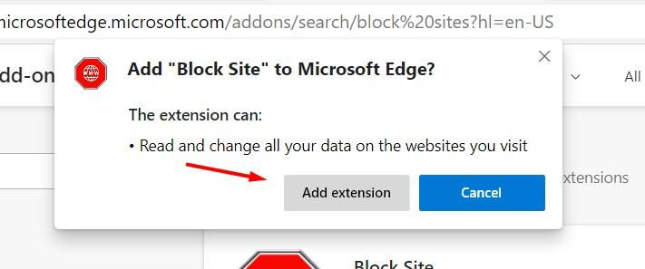 Add Block Site extension on Microsoft Edge