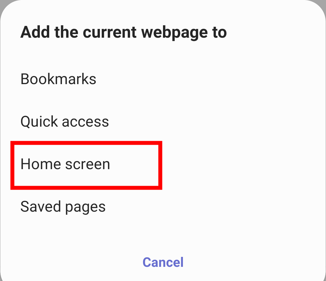 Add Current Webpage to Home Screen in Samsung Internet
