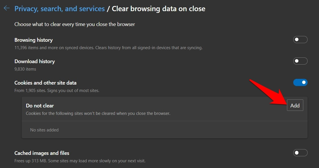 Add Do Not Clear Site Cookies and Data URL in Edge Browser Settings