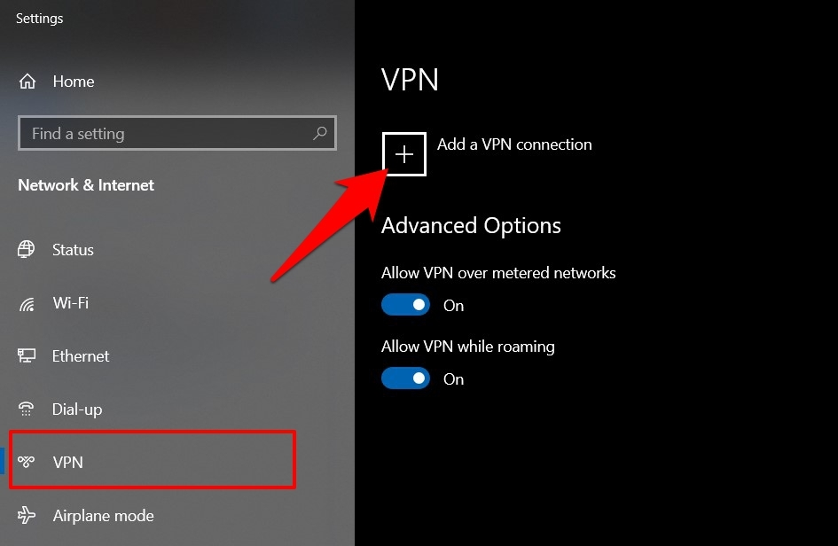 Add a VPN connection on Windows