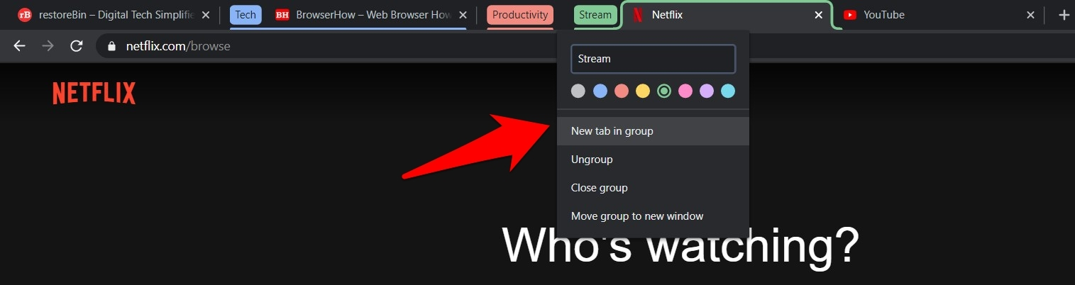 Add new tab to the group