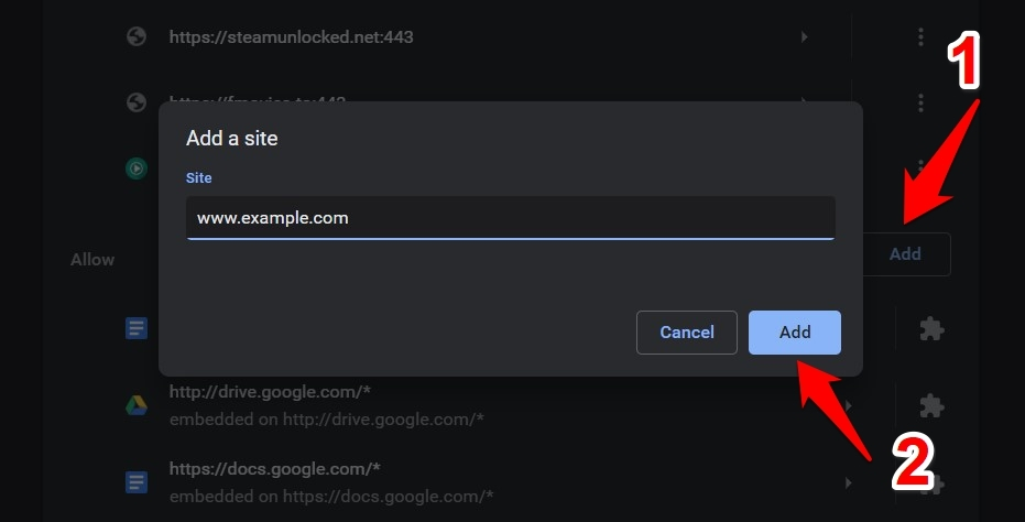 Add site URL to Allow Site Notifications