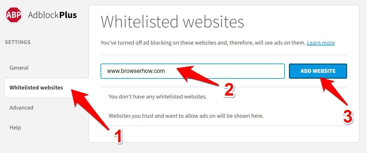 Add site URL to Whitelisted Websites on AdBlock Plus