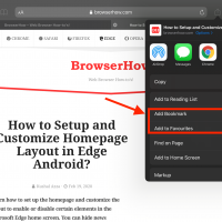 Add to Bookmark and Favorites in Safari on iPad