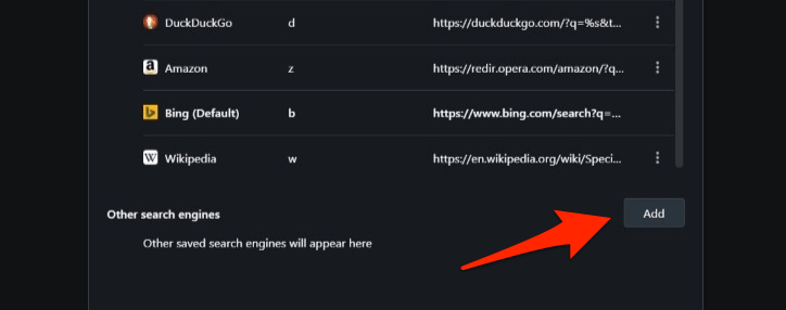 Add Custom Search Engine in Opera Computer