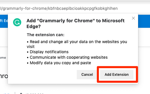 Add Grammarly for Chrome to Microsoft Edge