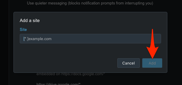 Add a site URL to Allow or Block Notification in Opera computer