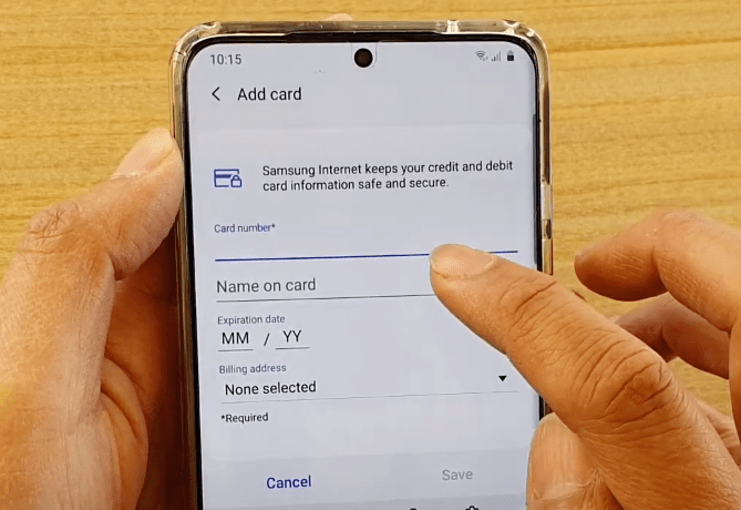Add credit card details to Samsung Internet