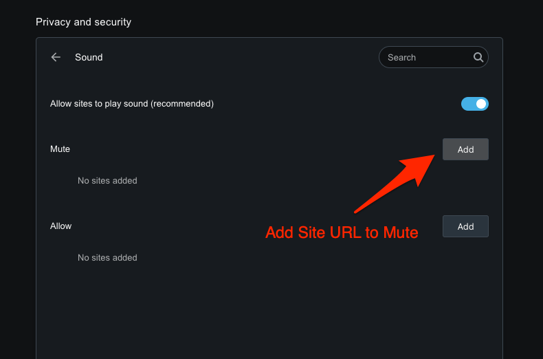Add the Site URL to Mute section to Disable the Sound on Opera