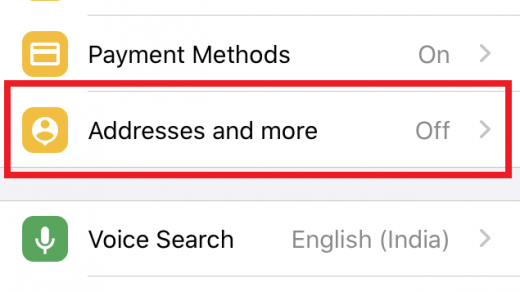 Addresses and more option in Chrome iOS App