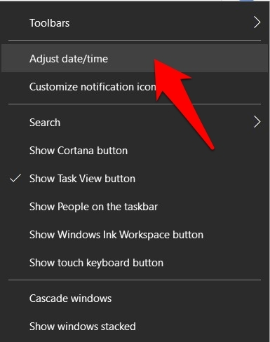Adjust Date and Time Option in Windows OS