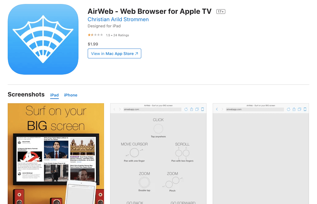 AirWeb - Web Browser for Apple TV on the AppStore