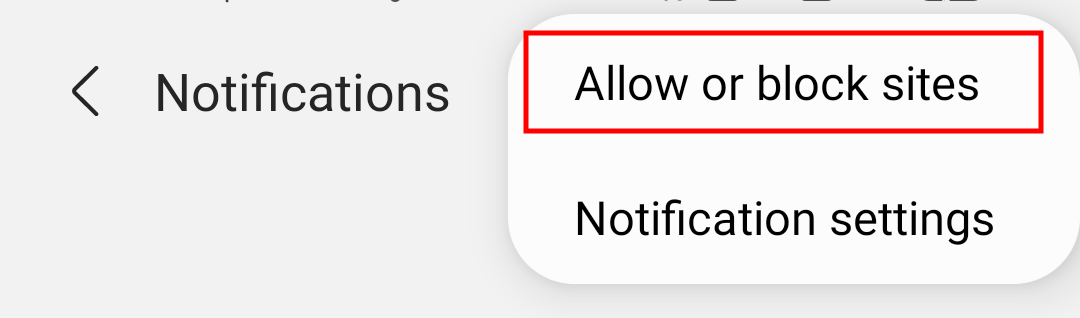 Allow or Block Notifications Option in Samsung Internet