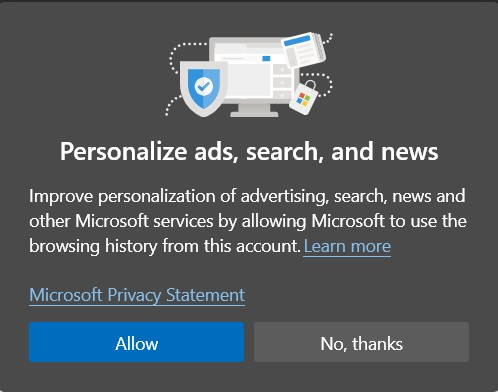 Allow or Block Personalized Ads on Microsoft Edge