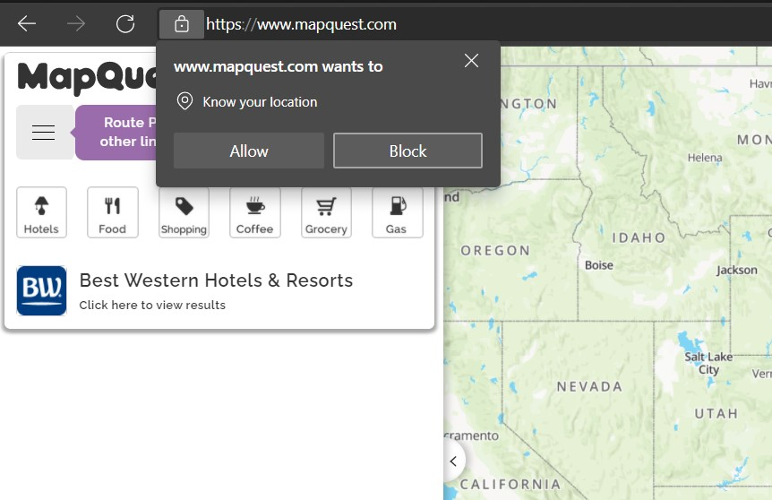 Allow or Block the Location Access Request on Edge Computer Browser