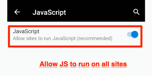 Allow JS to run on all sites Edge Android