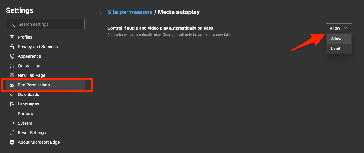 Allow Media Autoplay in Edge Computer