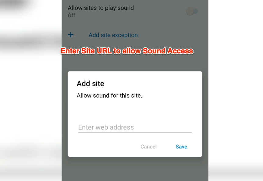 Add Exception to Allow Sites to Play Sound Edge Android