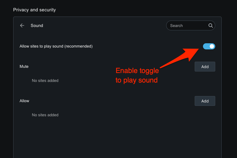 Allow Websites to Play Sound on Opera browser