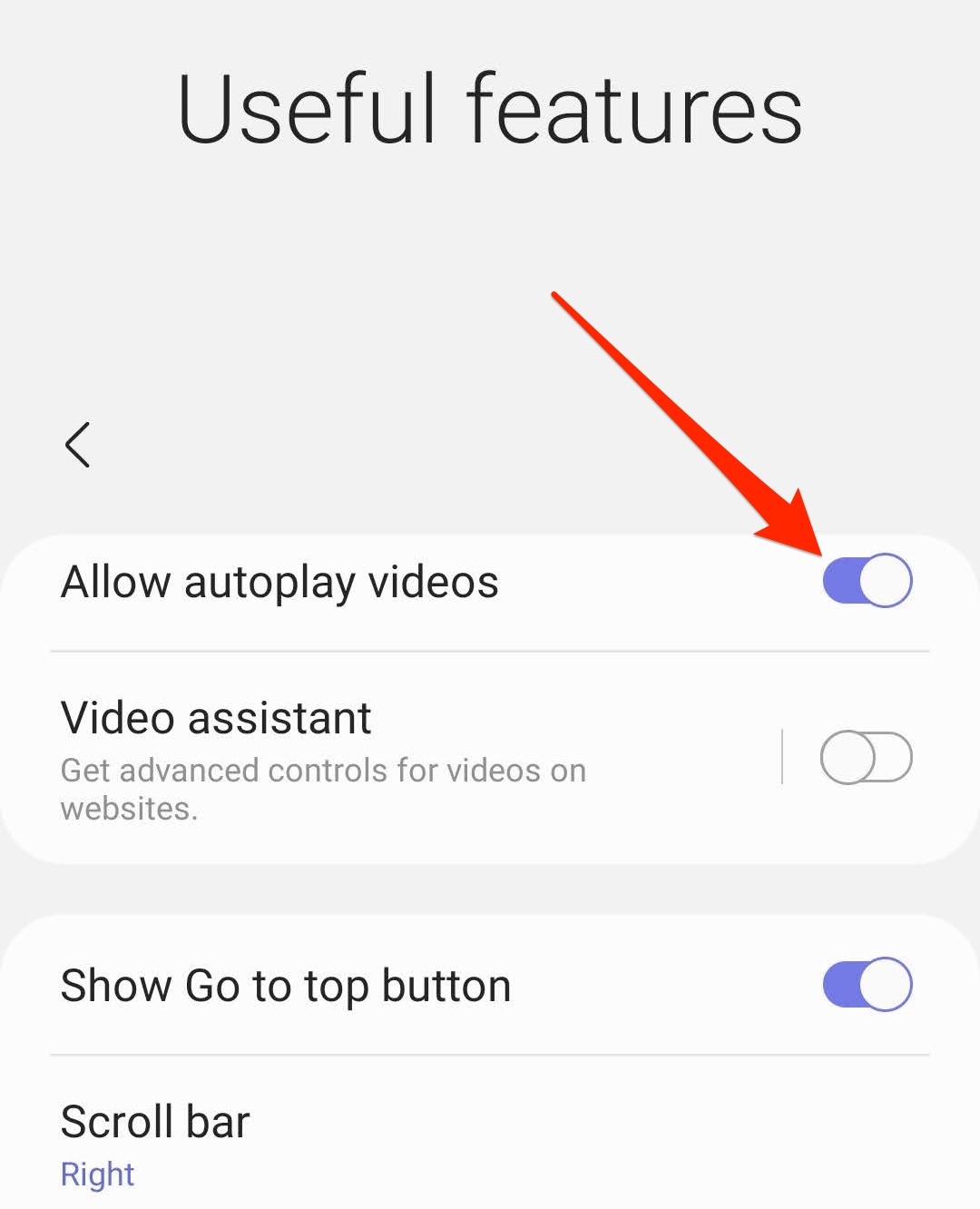 Allow or Disable the Autoplay videos in Samsung Internet