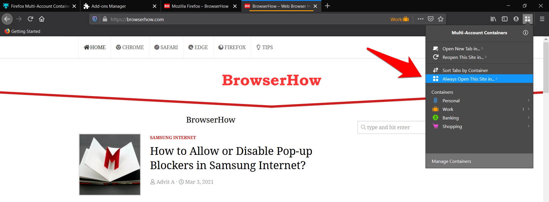 Always Open This site in Firefox containers