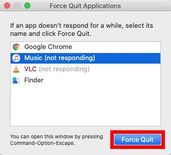 App doesn't respond Force Quit Application