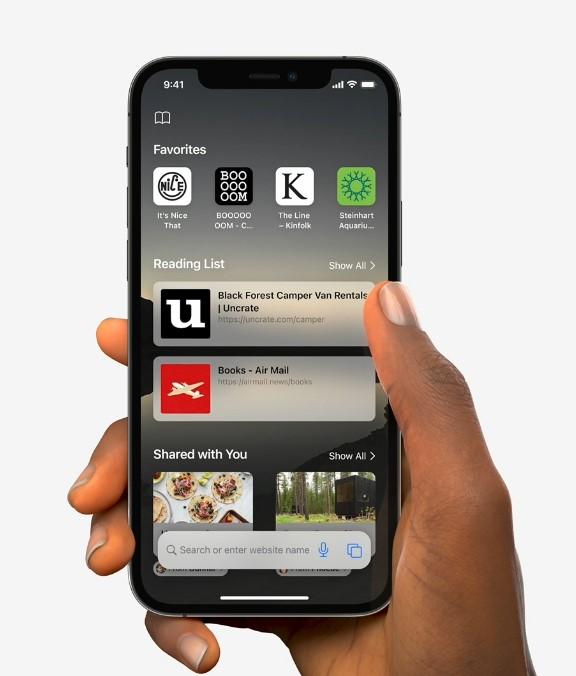 Apple Safari iOS 15 Startup Page