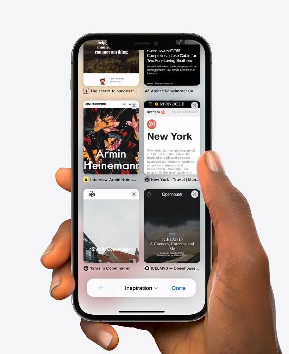 Apple Safari tab group in grid view in iOS 15