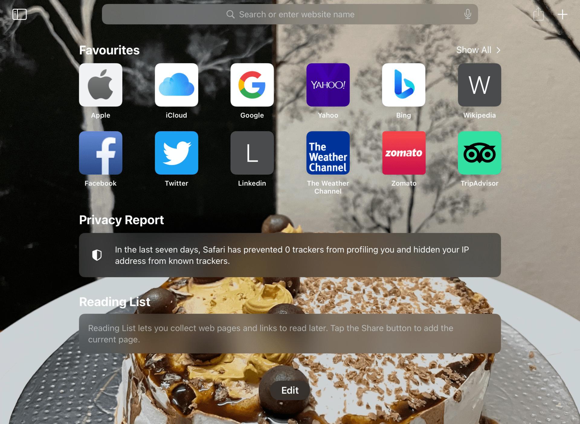 Apple Safari iPad Background Image Changed
