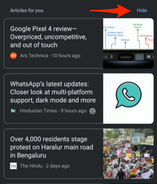 Articles for you Chrome Android with Hide option