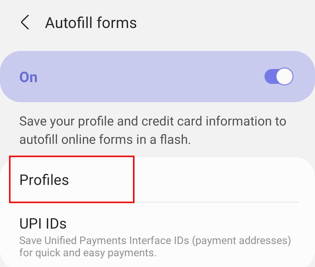 Autofill Profiles Setting in Samsung Internet