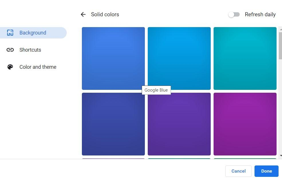 Background Solid Color for Chrome browser