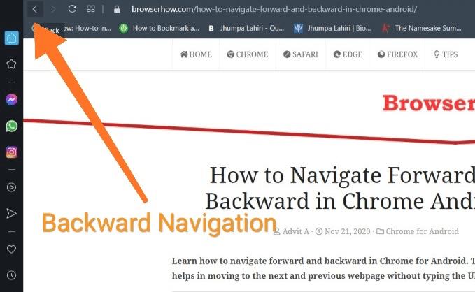 Backward Navigation button in Opera browser