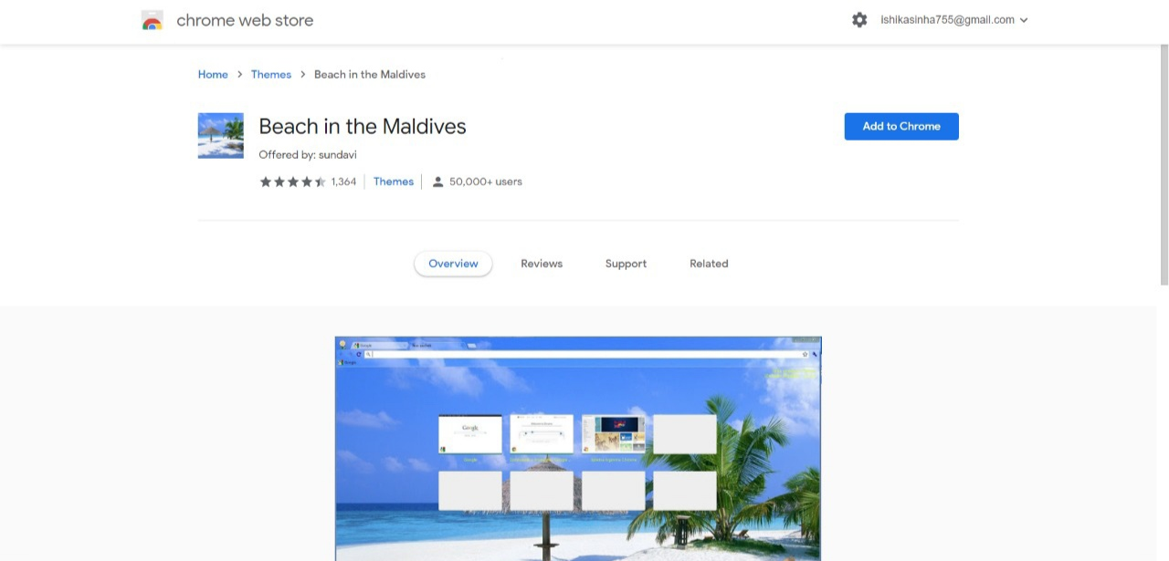 Beach in the Maldives Chrome Themes