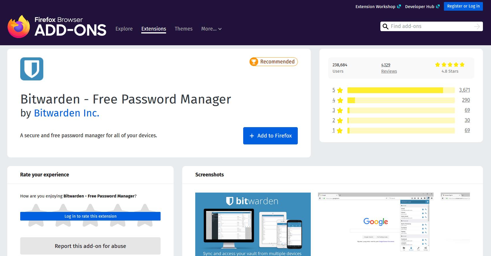 Bitwarden Password Manager Firefox Add-On