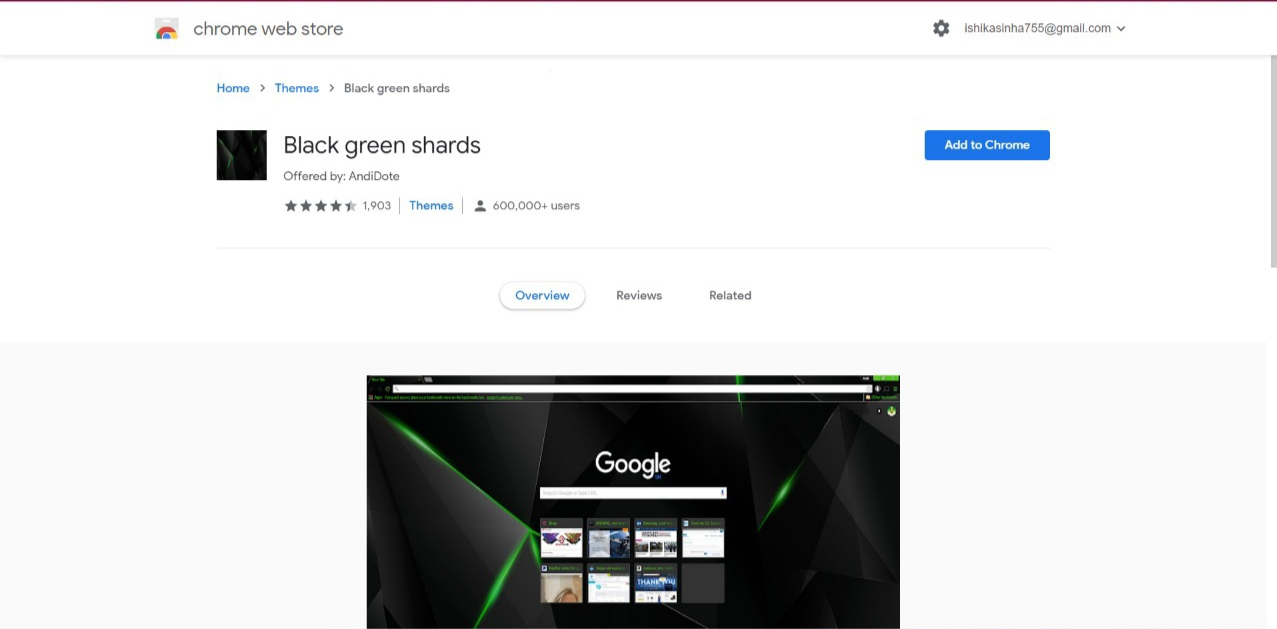 Black Green Shards Chrome Theme Extension