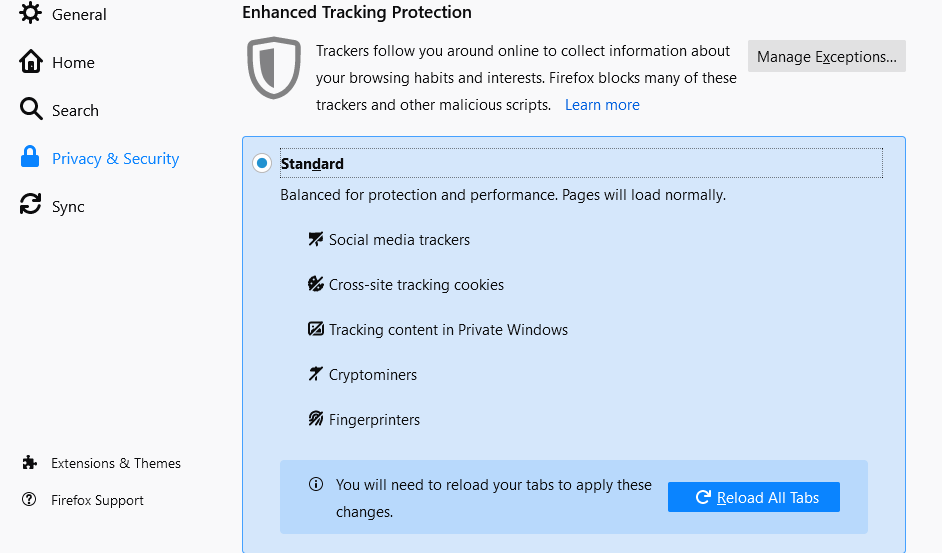 Block Ads In Firefox Computer With Content Blocking Features