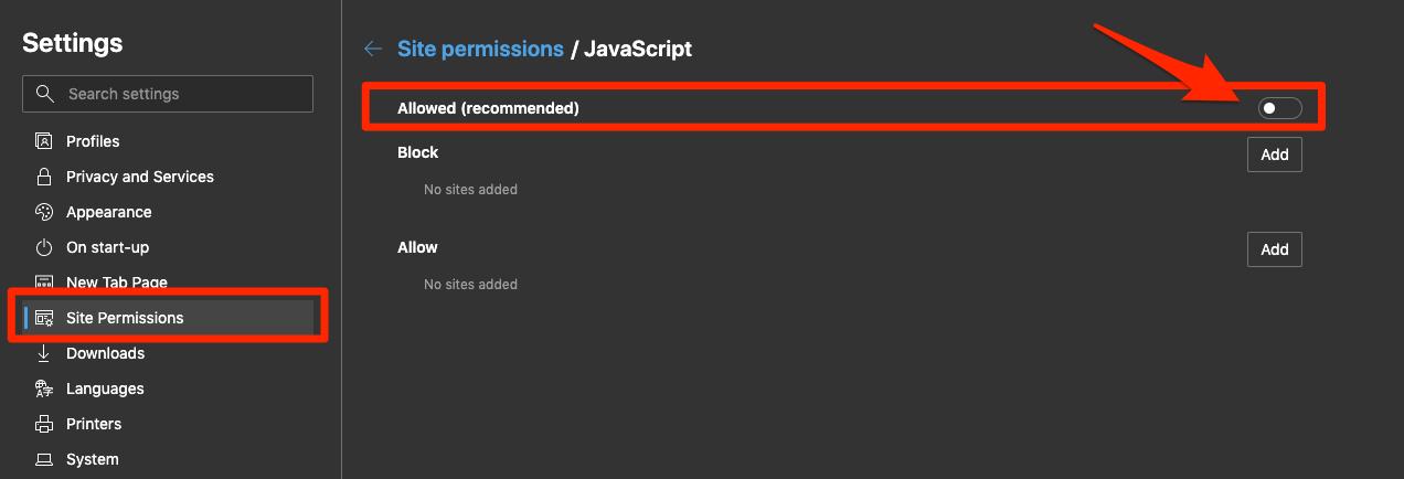 Block JavaScript on Edge Computer Browser