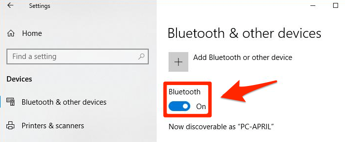 Bluetooth & other devices settings in Windows 10