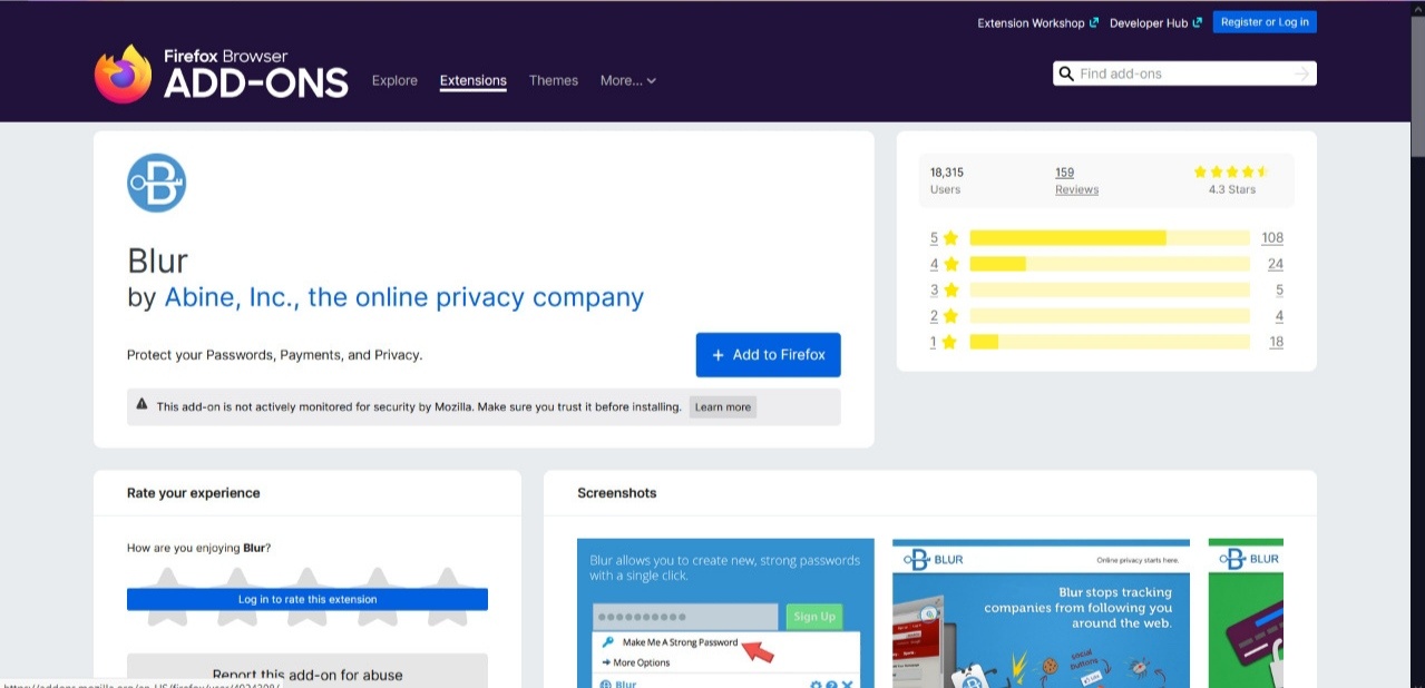 Blur Firefox addon to hide passwords and data