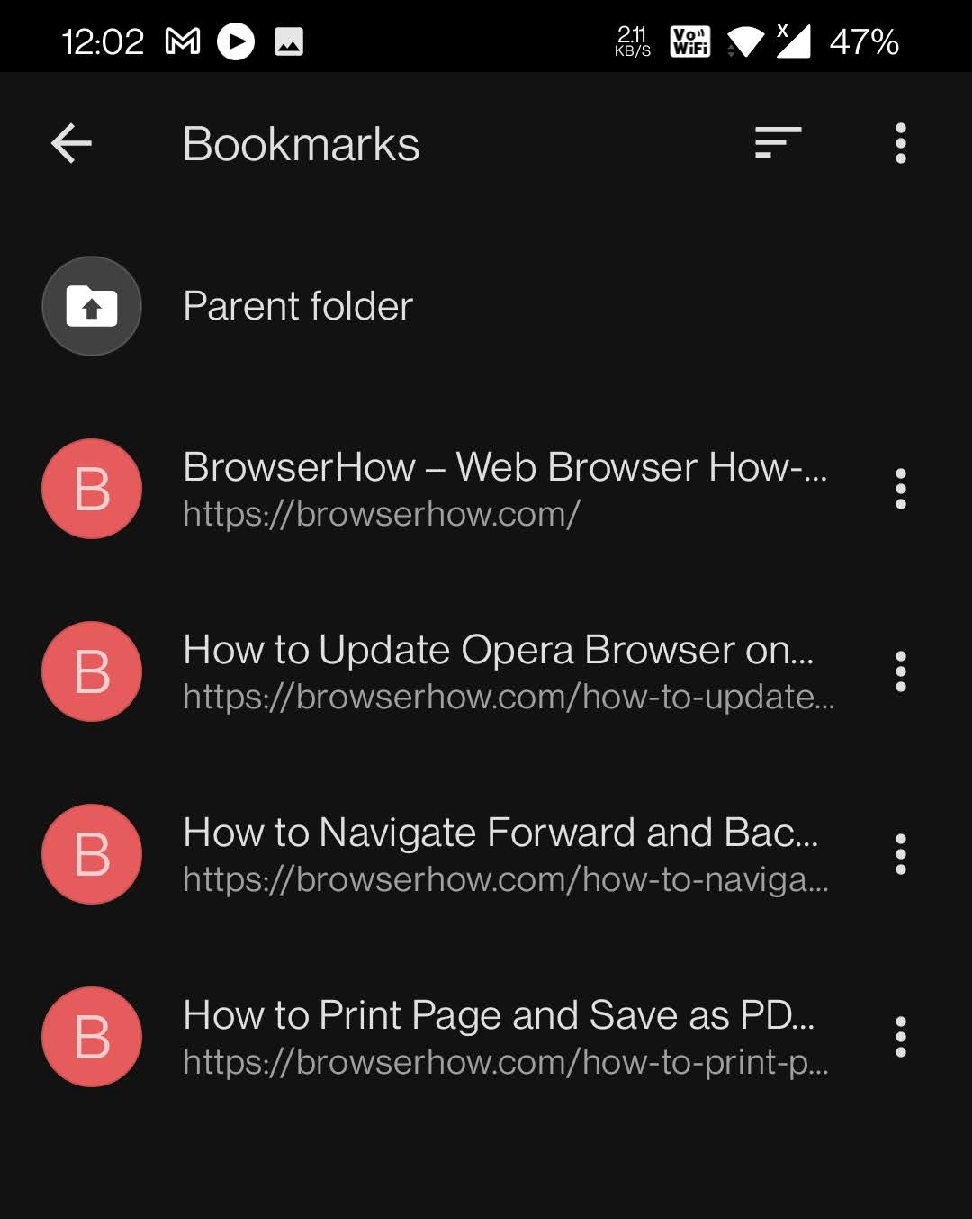 Bookmarks Available in Opera Mobile browser