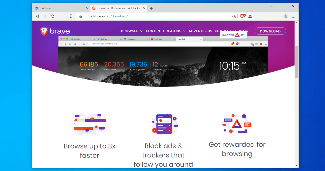 Brave browser windows with homepage