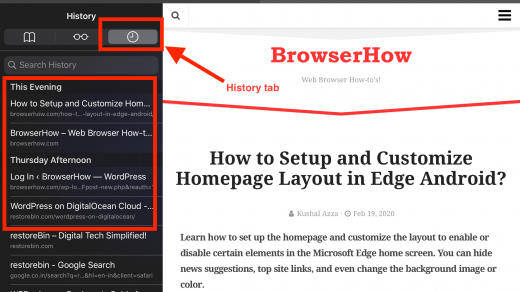 Browser History for Reopen Closed Tabs in Safari iOS