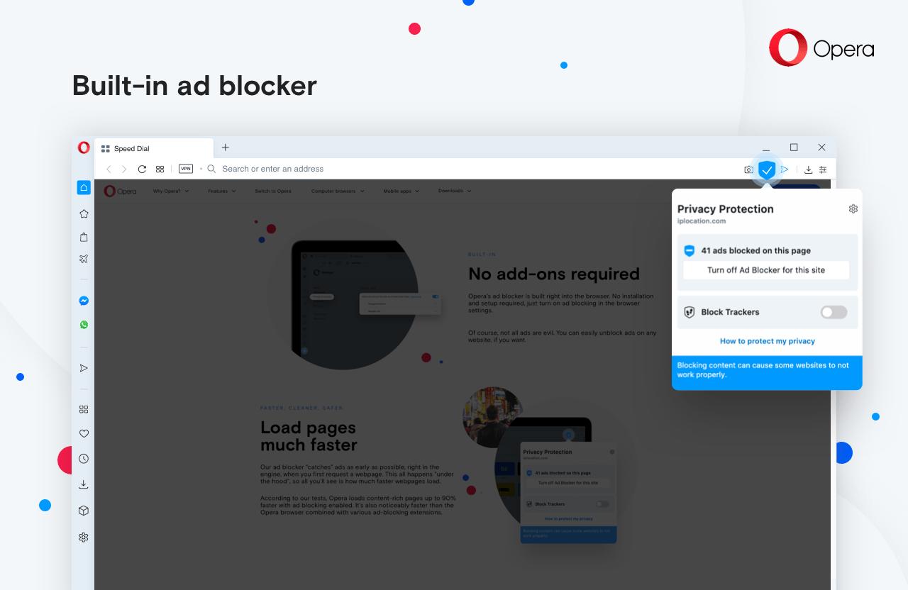 Build in ad blocker in Opera computer