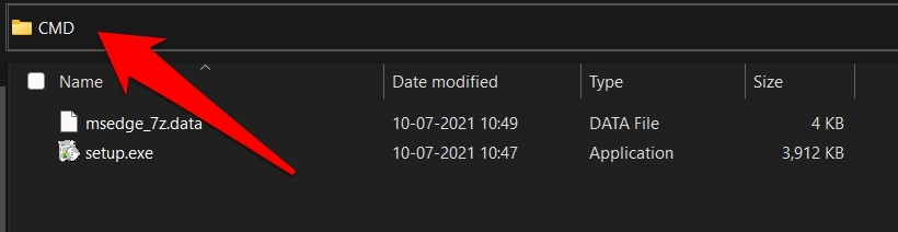CMD folder in Microsoft Edge browser