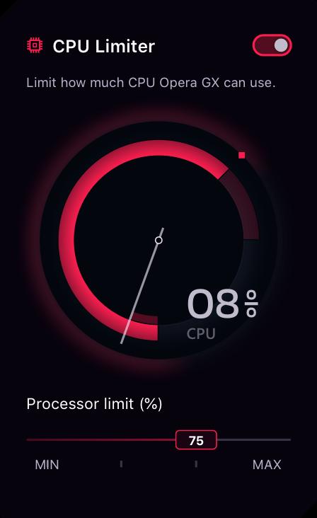 CPU Limiter in Opera GX Gaming Browser