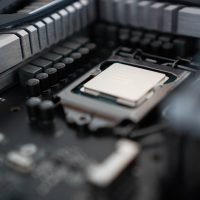CPU chip in the computer
