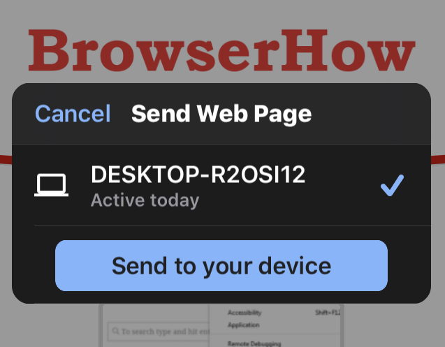 Choose Send Web Page option in Chrome iOS